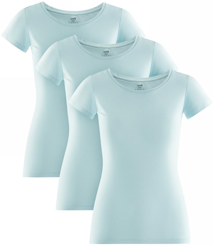 Футболка женская oodji Ultra, цвет: голубой, 3 шт. 14701005T3/46147/7001N. Размер L (48) футболка женская oodji ultra цвет светло серый меланж 3 шт 14701005t3 46147 2000m размер xl 50