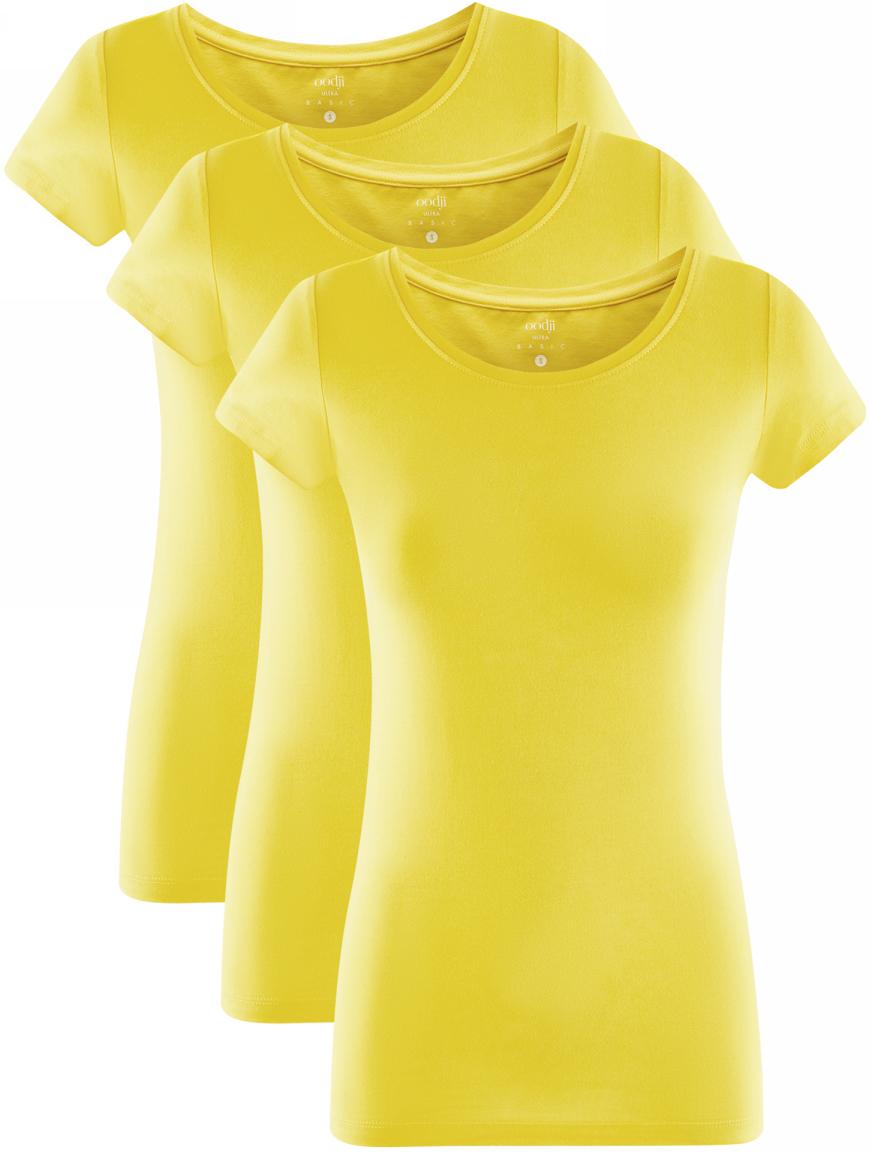 Футболка женская oodji Ultra, цвет: желтый, 3 шт. 14701005T3/46147/5100N. Размер L (48) футболка женская oodji ultra цвет светло серый меланж 3 шт 14701005t3 46147 2000m размер xl 50