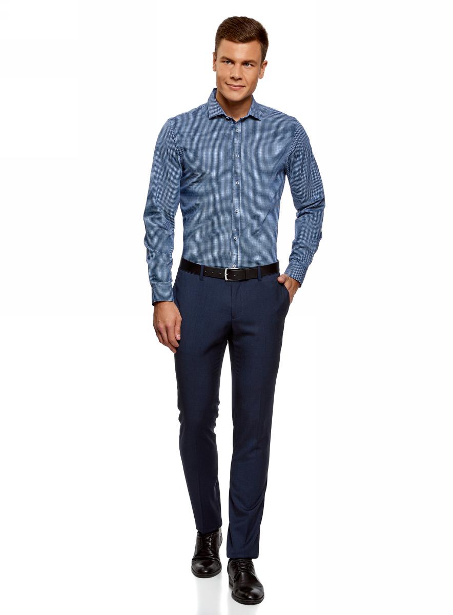 Рубашка мужская oodji Lab, цвет: темно-синий, белый. 3L110260M/19370N/1079G. Размер 40 (48-182)3L110260M/19370N/1079G
