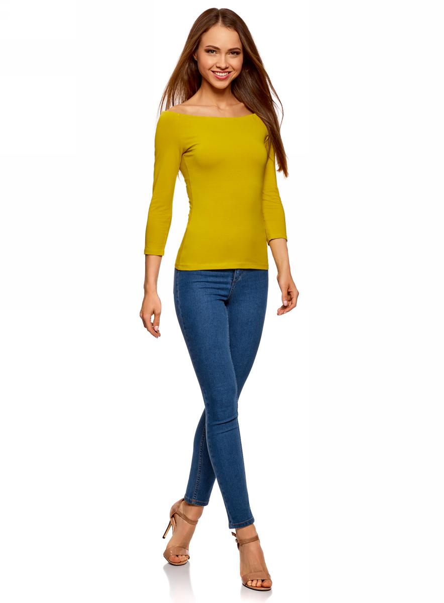 Лонгслив женский oodji Ultra, цвет: желтый. 14207007B/46867/5200N. Размер M (46)14207007B/46867/5200NЛонгслив женский oodji изготовлен из качественного эластичного хлопка. Модель выполнена с рукавами 3/4 и открытыми плечами.