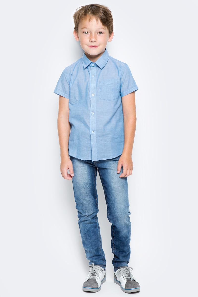 Рубашка для мальчика PlayToday, цвет: голубой. 271008. Размер 104271008Рубашка для мальчика PlayToday выполнена из хлопка. Модель с отложным воротником и короткими рукавами застегивается на пуговицы.