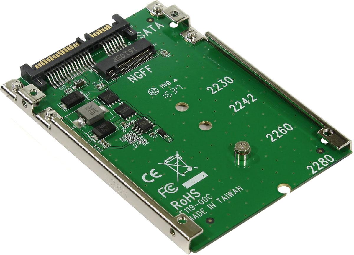 SmartBuy DT-119 переходник-конвертер для M.2 NGFF SATA SSD в 2.5 7mm SATADT-119Переходник-конвертер от Smartbuy конвертирует M.2 NGFF PCIe SSD для работы с SATA интерфейсом в отсеке 2,5. Данный переходник работает с M.2 форм-фактора 2280, 2260, 2242 M\B коннекторами.