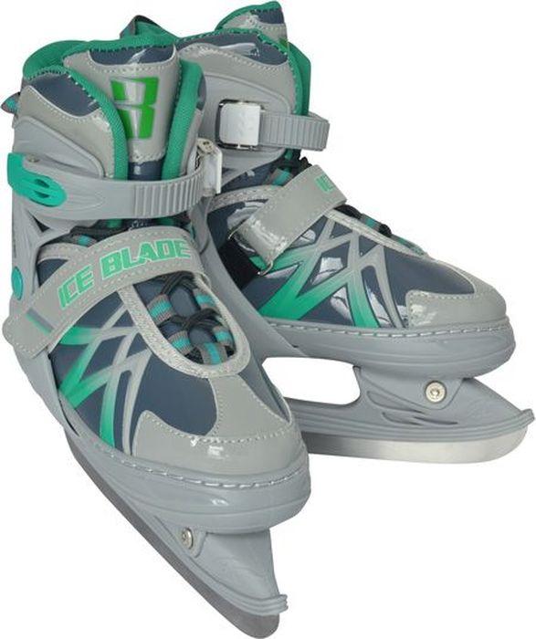 """Коньки ледовые для мальчика Ice Blade """"Wild"""", раздвижные, цвет: серый, зеленый. Размер L (38/41)"""