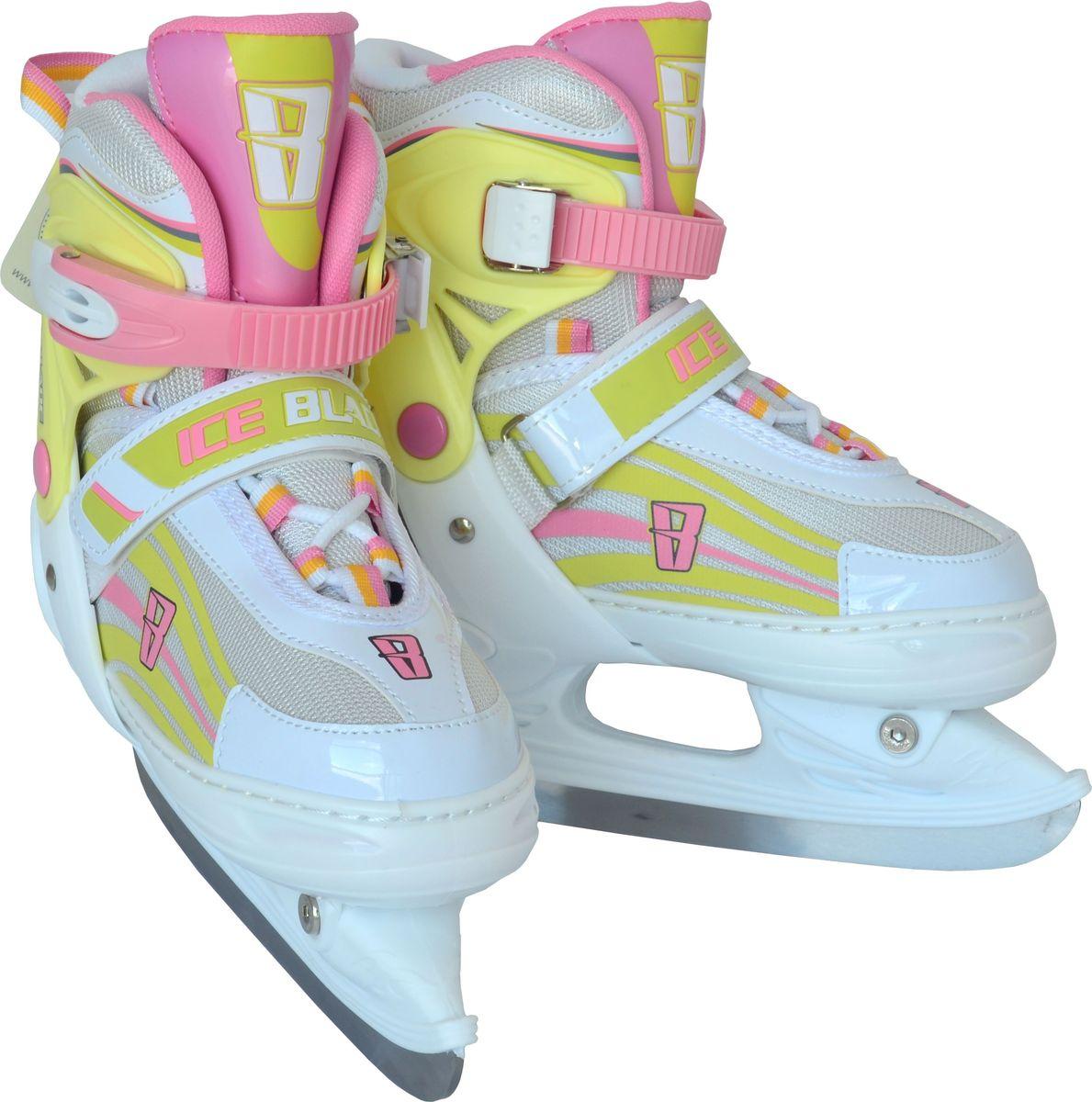 Коньки ледовые для девочки Ice Blade Solar, раздвижные, цвет: розовый, желтый, белый. Размер L (38/41)УТ-00010438Коньки раздвижные Ice Blade Solar предназначены для детей и подростков, а также для тех, кто делает первые шаги в катании на льду. Коньки с хоккейным лезвием подходят для использования на открытом и закрытом льду. Теплый внутренний сапожок, удобная трехуровневая система фиксации ноги, легкая смена размера, надежная защита пятки и носка - все это бесспорные преимущества модели. Ботинки изготовлены из морозостойкого пластика, который защитит ноги от ударов, а пластиковая бакля с фиксатором, хлястик на липучке и шнуровка надежно зафиксируют голеностоп. Лезвие выполнено из высокоуглеродистой стали с покрытием из никеля. Особенностью коньков является раздвижная конструкция, которая позволяет увеличивать длину ботинка на 4 размера по мере роста ноги ребенка. У сапожка с боку имеется специальная кнопка, которая позволит увеличить его размер.Коньки поставляются в удобной сумке и с заводской заточкой лезвия, что позволяет сразу приступить к катанию.