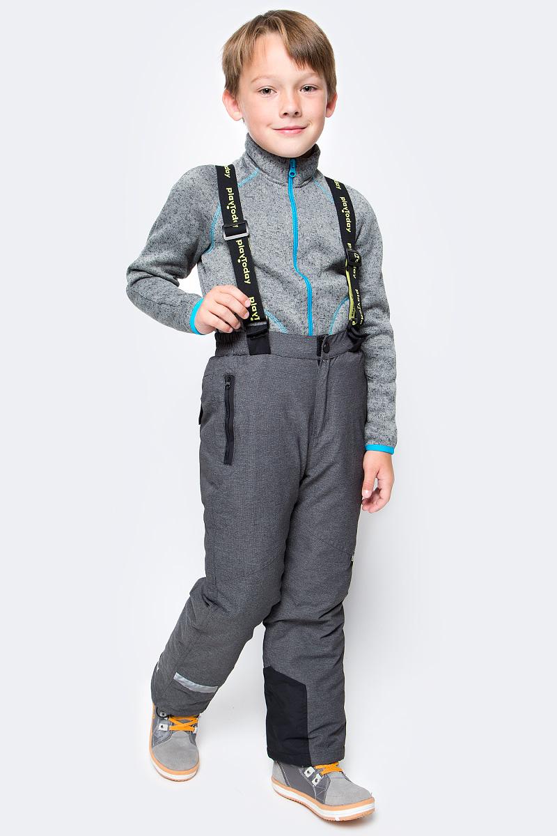 Брюки утепленные для мальчика PlayToday, цвет: серый. 371104. Размер 128371104Теплые брюки PlayToday на регулируемых съемных лямках. Пояс на широкой удобной резинке дополнен застежкой на кнопку, имеется ширинка на молнии. Подкладка из мягкого флиса. Низ штанин с защитными манжетами и регулируемым шнуром-кулиской. Модель дополнена втачными карманами. Светоотражатели обеспечат безопасность ребенка в темное время суток.