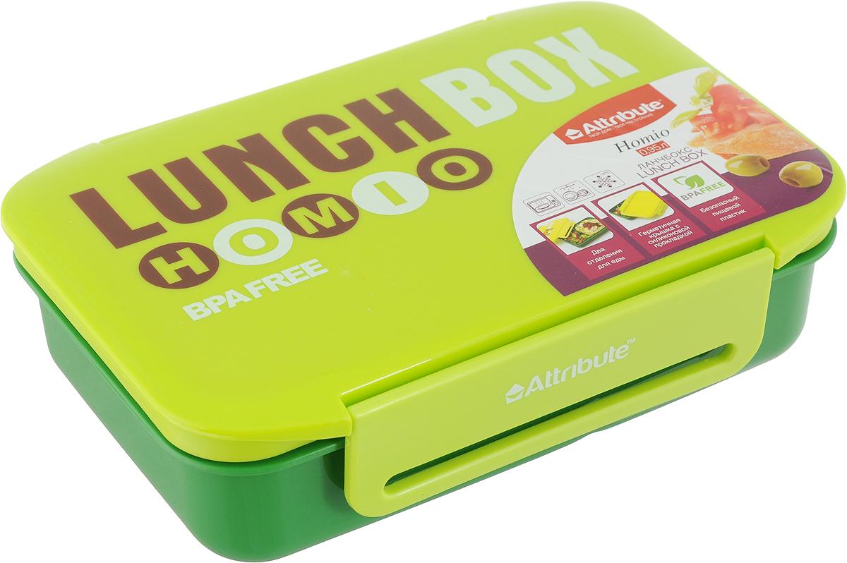 Ланч-бокс Attribute, цвет: салатовый, зеленый, 950 млATC4021_салатовый, зеленыйЛанч-бокс Attribute изготовлен из прочного пищевого пластика. В комплекте прилагается крышка подходящего размера, которая плотно и надежно закрывается и упрощает процесс транспортировки. Такой контейнер можно использовать не только на кухне, но и для хранения различных бытовых предметов, а также брать с собой еду на работу или учебу. Изделие оснащено разделителем, что позволяет разместить разнообразные продукты от салатов до супов. Не использовать пластиковые контейнеры в духовых шкафах и на открытом огне, а также не разогревать в микроволновых печах при закрытой крышке ланч-бокса. Можно мыть в посудомоечной машине.Общий размер контейнера (по верхнему краю): 20 х 13 см.Размер большего отделения (по верхнему краю): 11,5 х 13 см.Размер меньшего отделения (по верхнему краю): 8,5 х 13 см.Высота контейнера (без учета крышки): 5,5 см.