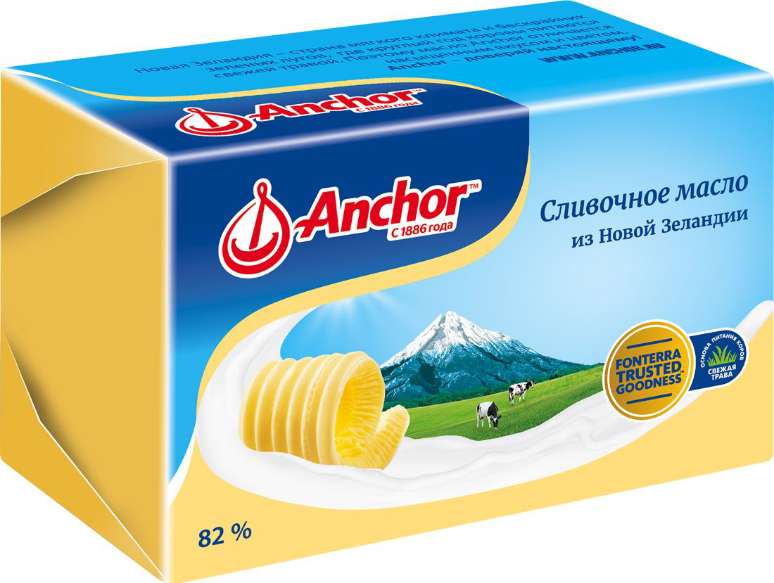 Anchor Масло сливочное 82%, 400 г21229Сливочное масло из Новой Зеландии.
