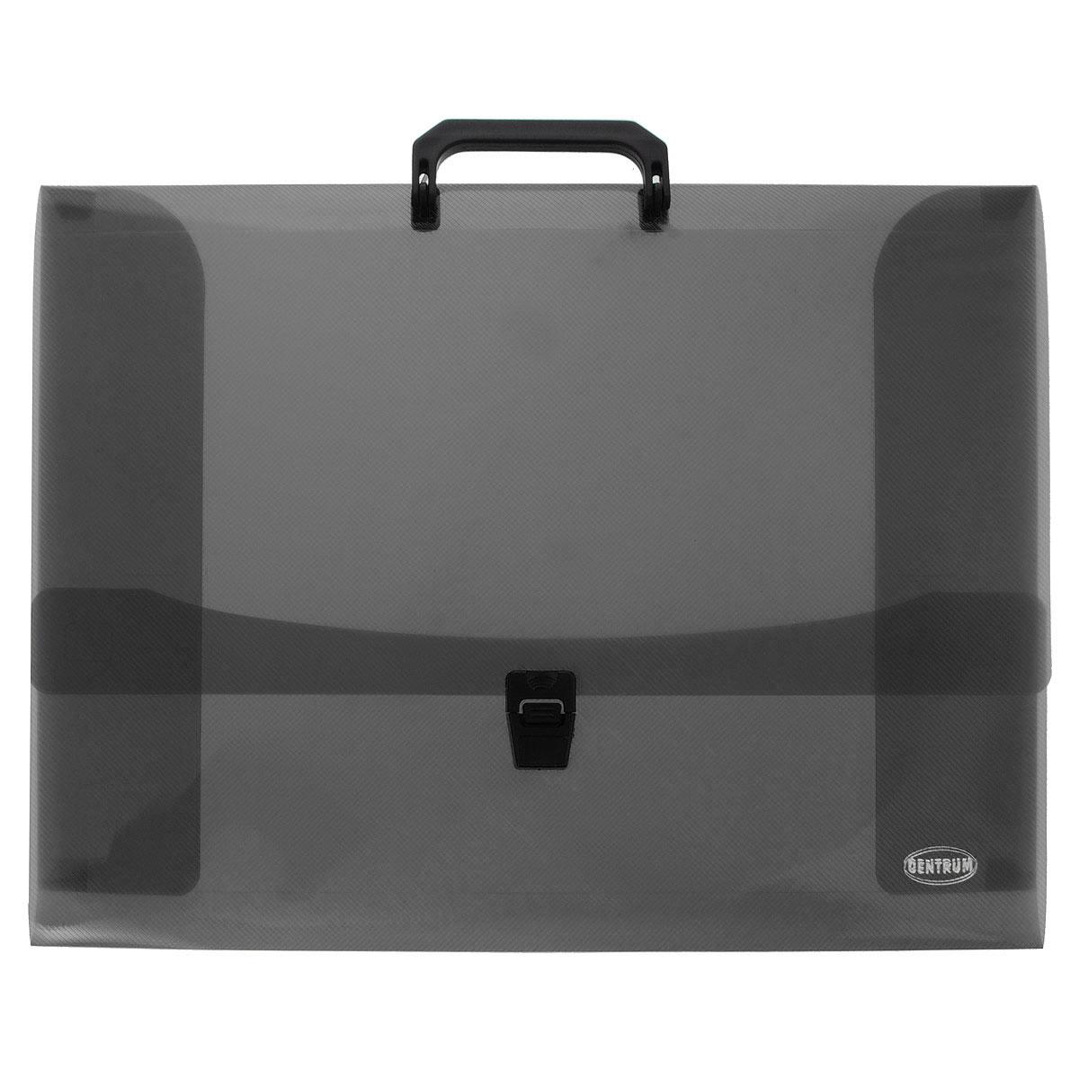 Портфель для художественных работ Centrum, цвет: черный, 7,5 см. Формат А380652ЧПортфель Centrum - это удобный и функциональный офисный инструмент, предназначенный для хранения и транспортировки рабочих бумаг и документов формата А3.Портфель изготовлен из износостойкого непрозрачного пластика, имеет перфорацию на клапане и обложке, что позволяет закреплять клапан лентой или шнурком. Портфель - это незаменимый атрибут для студента, школьника, офисного работника. Он превосходно подойдет для транспортировки эскизов и станет верным помощником для художников. Такой портфель надежно сохранит ваши документы и сбережет их от повреждений, пыли и влаги.