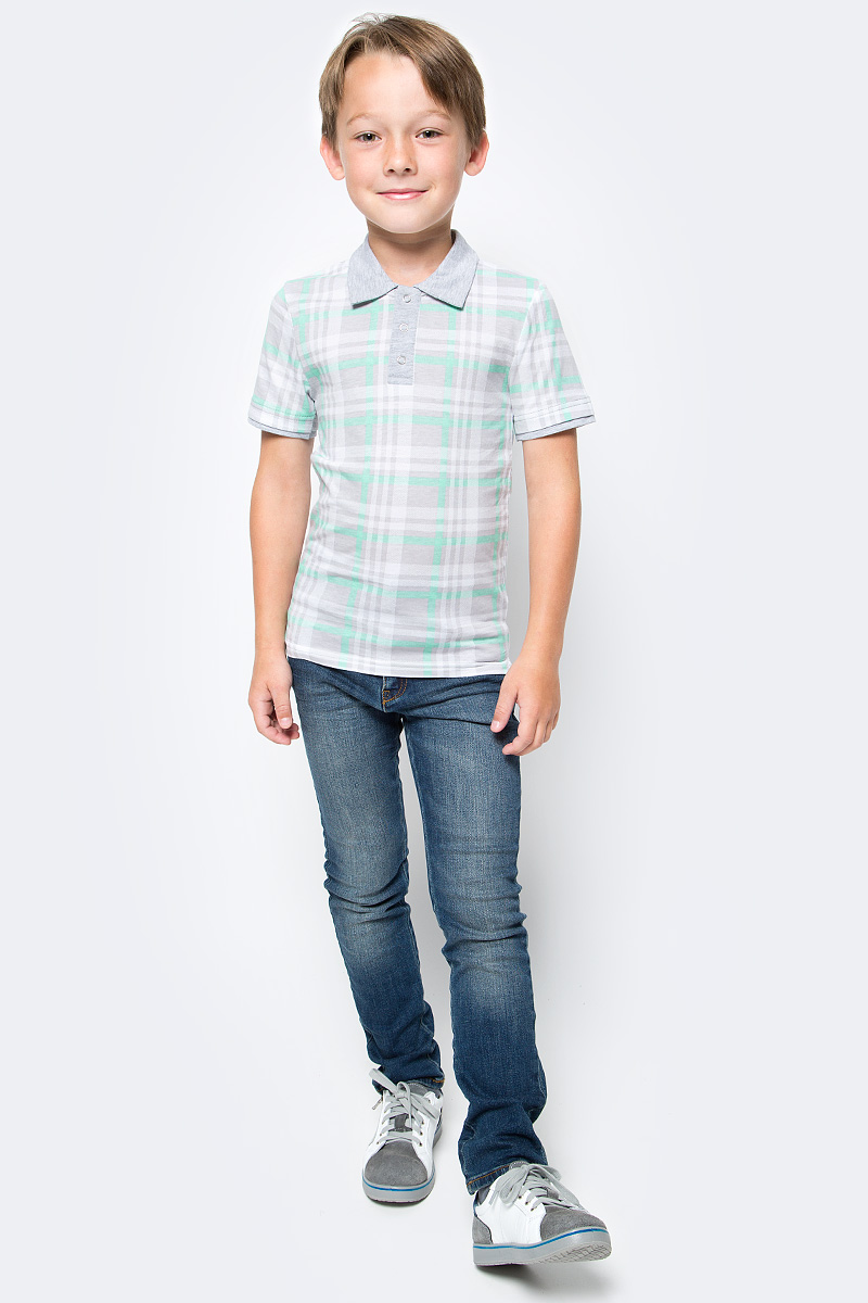 Поло для мальчика LeadGen, цвет: серый, бирюзовый. B223031005-171. Размер 128 куклы и одежда для кукол barbie кукла барби с катером
