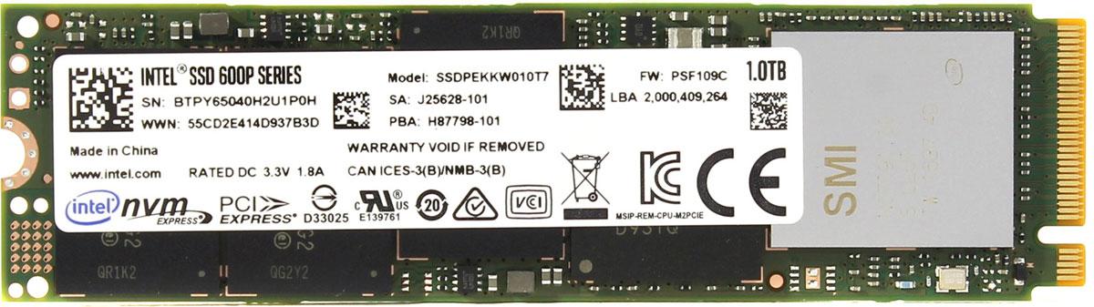 Intel 600p 1TB SSD-накопитель (SSDPEKKW010T7X1)399862SSD-накопитель Intel 600p станет хорошим решением для создания системного диска. Операционная система, установленная на представленную модель, станет загружаться и работать существенно быстрее по сравнению со стандартными механическими жесткими дисками.Накопитель Intel 600p изготавливается с использованием технологии TLC, способной обеспечить максимальное быстродействие и надежность на весь срок эксплуатации.Форм-фактор М.2 позволяет устанавливать представленную модель в самые современные материнские платы.