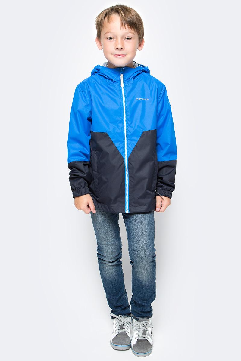 Ветровка для мальчика Icepeak, цвет: темно-синий, голубой. 750007501IVT_335. Размер 116750007501IVT_335Ветровка для мальчика от Icepeak с фиксированным капюшоном, молния закрыта планкой с внутренней стороны, эластичная резинка на рукавах, утяжка в нижней части куртки, светоотражающие элементы, основные швы проклеены.