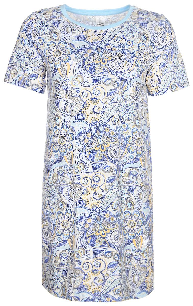 Ночная рубашка женская Sela, цвет: молочный. NDb-161/012-7331. Размер S (44)NDb-161/012-7331Ночная рубашка от Sela выполнена из эластичного трикотажа из вискозы и хлопка. Модель свободного кроя с короткими рукавами и круглым вырезом горловины.