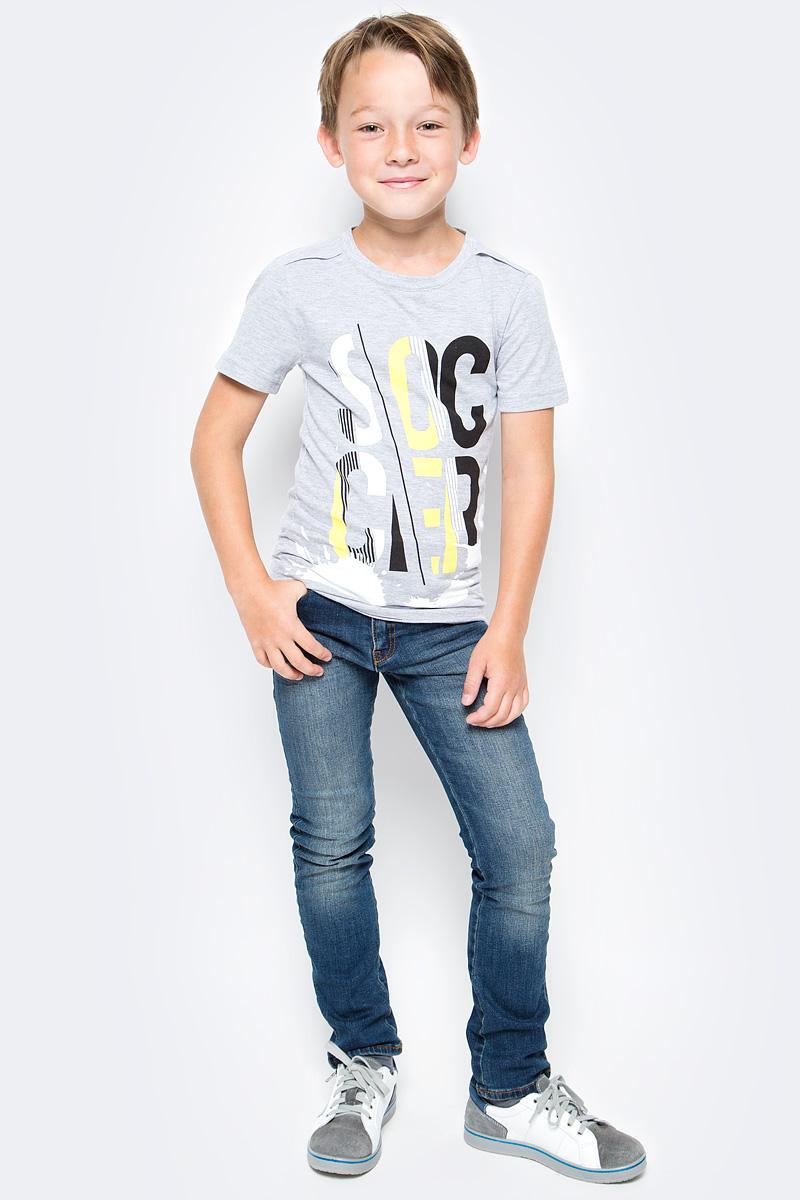 Футболка для мальчика LeadGen, цвет: серый. B113020412-171. Размер 134B113020412-171Футболка для мальчика LeadGen выполнена из натурального хлопкового трикотажа. Модель с короткими рукавами и круглым вырезом горловины спереди оформлена принтом.