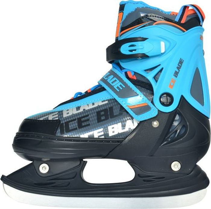 """Коньки ледовые для мальчика Ice Blade """"Skyline"""", раздвижные, цвет: голубой, оранжевый, черный. Размер M (34/37)"""