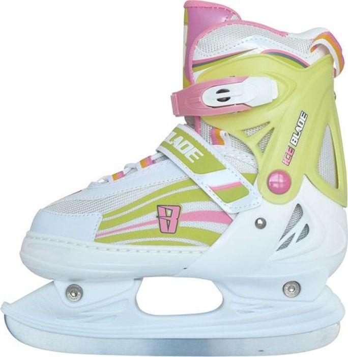 """Коньки ледовые для девочки Ice Blade """"Solar"""", раздвижные, цвет: розовый, желтый, белый. Размер M (34/37)"""