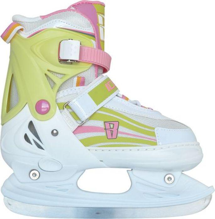 """Коньки ледовые для девочки Ice Blade """"Solar"""", раздвижные, цвет: розовый, желтый, белый. Размер S (30/33)"""