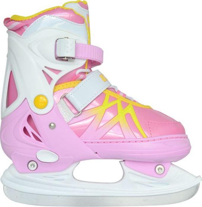 """Коньки ледовые для девочки Ice Blade """"Taffy"""", раздвижные, цвет: розовый, желтый, белый. Размер M (34/37)"""