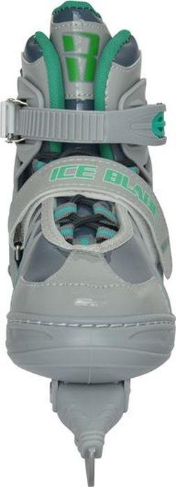 """Коньки ледовые для мальчика Ice Blade """"Wild"""", раздвижные, цвет: серый, зеленый. Размер XS (26/29)"""