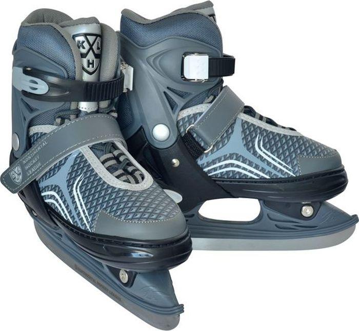 Коньки раздвижные для мальчика КХЛ Flash, цвет: серый, черный, белый. Размер XS (26/29)УТ-00010432Коньки раздвижные Flash от известного бренда Ice Blade предназначены для детей и подростков, а также для тех, кто делает первые шаги в катании на льду. Коньки имеют стильный строгий дизайн. Теплый внутренний сапожок, удобная трехуровневая система фиксации ноги, легкая смена размера, надежная защита пятки и носка - все это бесспорные преимущества модели. Коньки поставляются с заводской заточкой лезвия, что позволяет сразу приступить к катанию и не тратить деньги на заточку. Предназначены для использования на открытом и закрытом льду. Основные характеристики:Назначение: раздвижные конькиТип фиксации: клипса с фиксатором, липучка, шнуркиЦвет: серый/черный/белыйДополнительные характеристики:Материал ботинка: морозостойкий пластикВнутренняя отделка: теплый текстильный материалЛезвие: выполнено из высокоуглеродистой стали с покрытием из никеляУпаковка: удобная сумкаДополнительно: гарантия 1 год