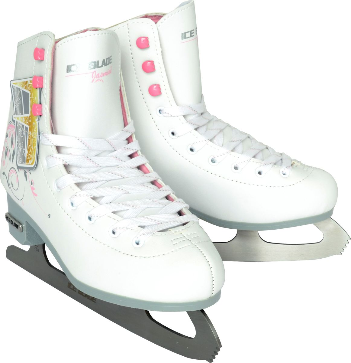 Коньки фигурные для девочки Ice Blade Jasmine, цвет: белый. Размер 31УТ-00010448Ice Blade Jasmine - фигурные коньки классической формы. Предназначены для любительского катания. Они не только надежны и комфортны в использовании, но и отличаются прекрасным дизайном. Они выполнены из высококачественной искусственной кожи, обработанной защитным составом, предотвращающим негативное воздействие влаги. Ботинок очень удобен благодаря своей анатомической конструкции и увеличенной жесткости - его усиление надежно защищает голеностоп от повреждений и позволяет кататься увереннее. Изготовлен из особой высококачественной искусственной кожи, обладает высокой прочностью. Внутренняя часть ботинка выполнена из искусственного меха. Лезвие изготовлено из высокоуглеродистой стали с покрытием из никеля, что уменьшает вероятность коррозии металла.Яркий дизайн, удобный ботинок с мягкой меховой подкладкой и поддерживающей конструкцией сделают катание безопасным и комфортным. Предназначены для использования на открытом и закрытом льду. Основные характеристики:Назначение: фигурные конькиТип фиксации: шнурки (наличие шнурков)Цвет: белыйДополнительные характеристики: Материал ботинка: искусственная кожа высокого качества Внутренняя отделка: мягкий вельветин Лезвие: высокоуглеродистая сталь с покрытием из никеляДополнительно: улучшенная колодка Упаковка: удобная сумка Дополнительно: Гарантия 1 год