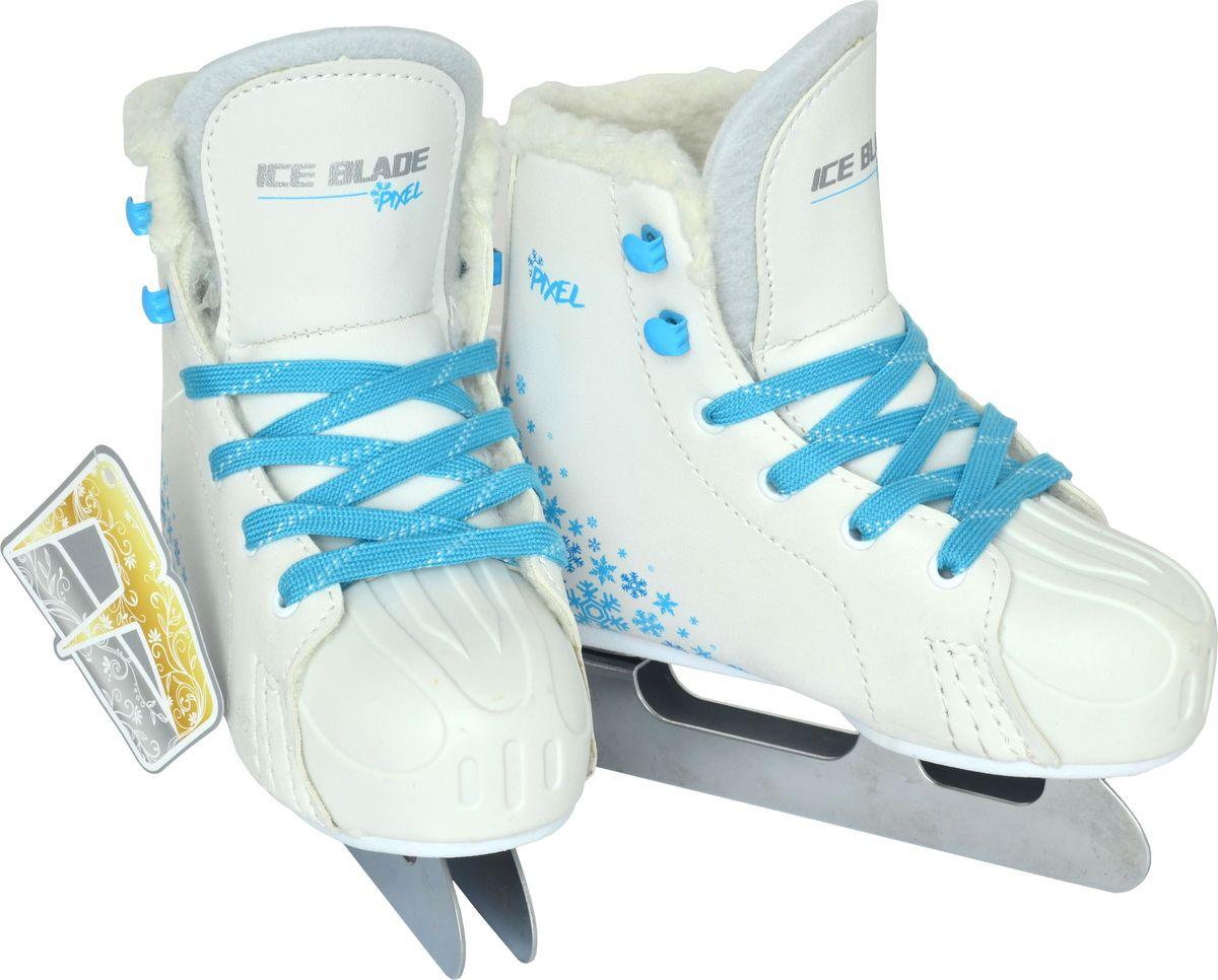 Коньки фигурные для девочки Ice Blade Pixel, цвет: белый, голубой. Размер 28УТ-00010447Двухполозные фигурные коньки Ice Blade Pixel созданы для тех, кто делает свои самые первые шаги на льду. Они оснащены двухполозным лезвием, которое позволит малышу адаптироваться к катанию.Ботинок выполнен из высококачественной искусственной кожи с защитой мыска и фиксируется на ноге при помощи удобной шнуровки. Внутренняя отделка выполнена из мягкого искусственного меха. Двойное лезвие изготовлено из литейного сплава.Улучшенная колодка, удобный ботинок с мягкой меховой подкладкой и поддерживающей конструкцией сделают катание безопасным и комфортным.Коньки поставляются в удобной сумке.