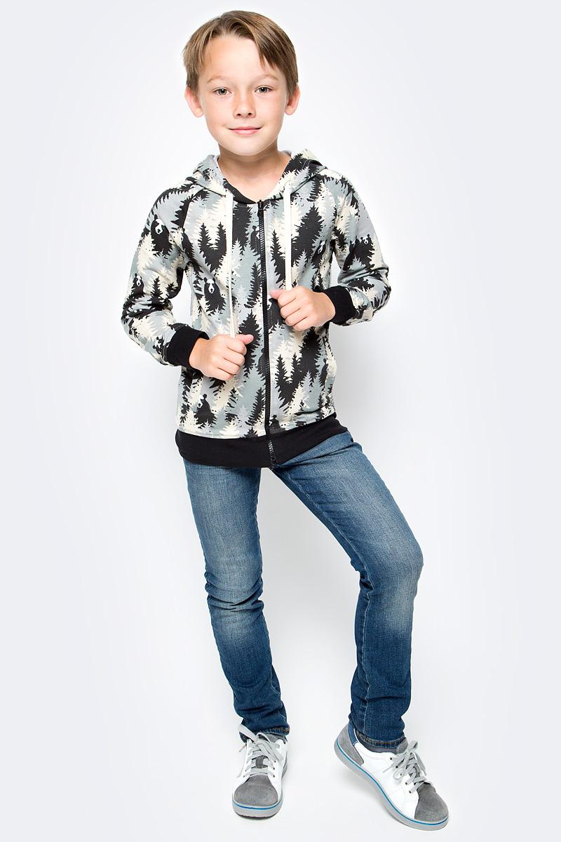 Толстовка для мальчика LeadGen, цвет: серый. B617045802-171. Размер 116B617045802-171Толстовка для мальчика LeadGen выполнена из хлопкового трикотажа. Модель с длинными рукавами, капюшоном и карманами спереди застегивается на застежку-молнию.