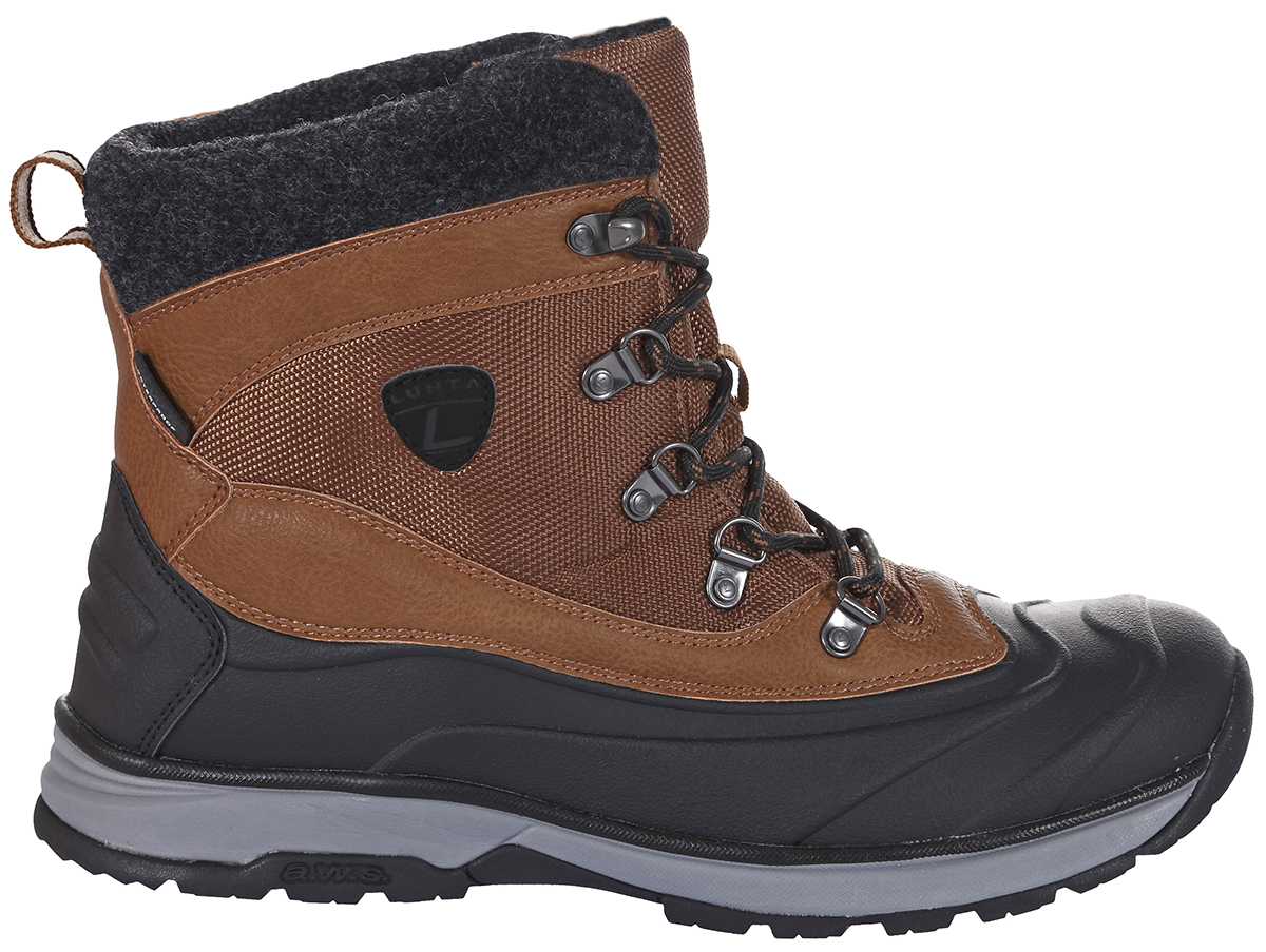 Ботинки мужские Luhta, цвет: коричневый. 878520477LV_065. Размер 45 (44)878520477LV_065Утепленные мужские ботинки Luhta созданы для тех, кто ведет активный образ жизни. Верх модели выполнен из плотного нейлона с отделкой из войлока и вставками из искусственной кожи. Модель фиксируется на ноге с помощью шнуровки. Подкладка и стелька выполнены из легкого и износостойкого полиэстера. Резиновая подошва оснащена рифленой подметкой для идеального сцепления с любой поверхностью.
