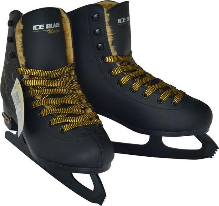 """Фигурные коньки в эксклюзивном дизайне Ice Blade """"Merida"""" предназначены для любительского фигурного катания и подходят для использования на открытом и закрытом льду. Они не только надежны и комфортны в использовании, но и отличаются прекрасным дизайном. Ботинок выполнен из высококачественной искусственной кожи, обработанной защитным составом, предотвращающим негативное воздействие влаги, и фиксируется на ноге при помощи удобной шнуровки. Ботинок очень удобен благодаря своей анатомической конструкции и увеличенной жесткости - его усиление надежно защищает голеностоп от повреждений и позволяет кататься увереннее. Внутренняя отделка выполнена из мягкого искусственного меха. Лезвие изготовлено из высокоуглеродистой стали с покрытием из никеля, что уменьшает вероятность коррозии металла. Улучшенная колодка, удобный ботинок с мягкой подкладкой и поддерживающей конструкцией сделают катание безопасным и комфортным.   Коньки поставляются в удобной сумке."""