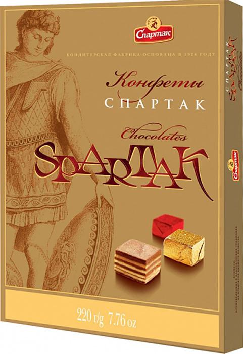 Спартак набор конфет неглазированные, 220 г2158Фирменные конфеты фабрики Спартак. Корпус состоит из 9 чередующихся шоколадно-ореховых и пралиновых слоев.