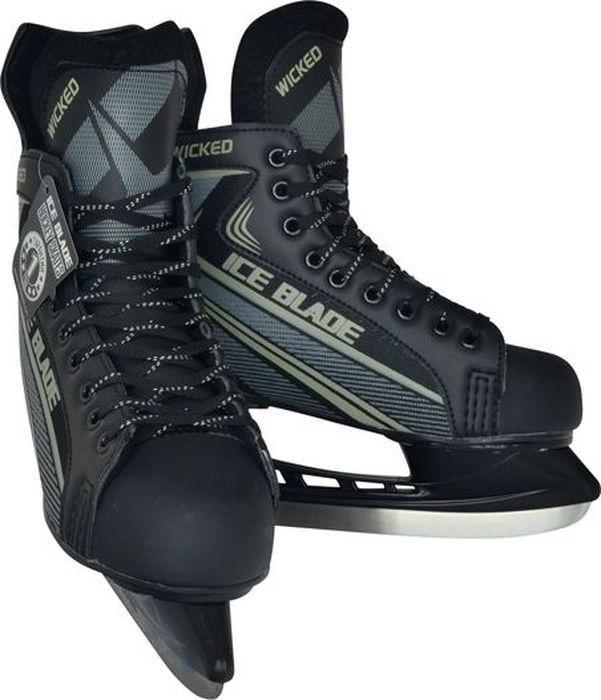 Коньки хоккейные мужские Ice Blade Wicked, цвет: серый, черный. Размер 43УТ-00010455Коньки Ice Blade Wicked - это хоккейные коньки для любых возрастов, которые подходят для использования на открытом и закрытом льду. Конструкция конька прекрасно защищает стопу, очень комфортна для активного катания, а также позволяет играть в хоккей. Легкий ботинок, изготовленный из искусственной кожи и высокопрочной нейлоновой ткани, очень комфортный как для простого катания на льду, так и для любительского хоккея. Ботинок крепится на ноге при помощи удобной шнуровки. Мысок защищен ударостойким пластиком. Внутренний сапожок утеплен мягким дышащим материалом, а язычок усилен специальной вставкой для большей безопасности стопы. Лезвие изготовлено из высокоуглеродистой стали с покрытием из никеля, что уменьшает вероятность коррозии металла.Коньки поставляются с заводской заточкой лезвия, что позволяет сразу приступить к катанию.