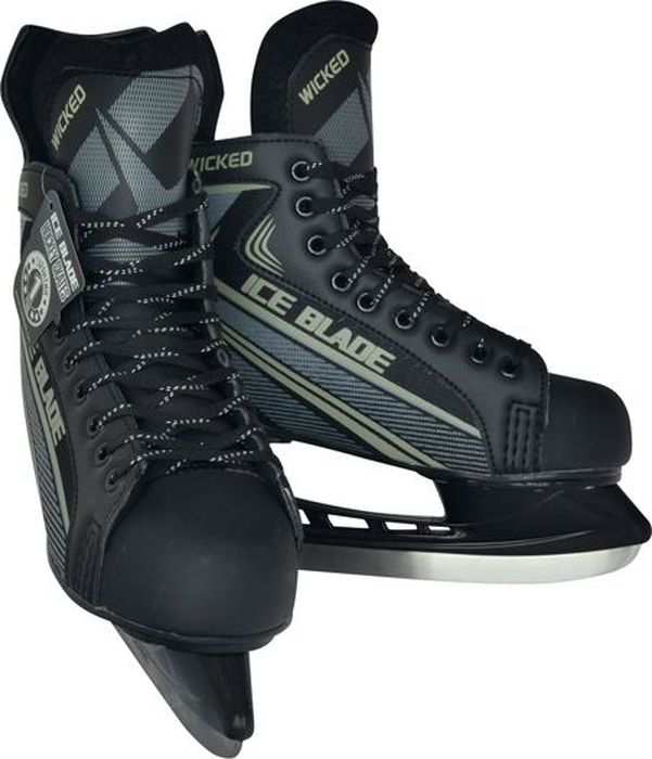 Коньки хоккейные мужские Ice Blade Wicked, цвет: серый, черный. Размер 45УТ-00010455Коньки Ice Blade Wicked - это хоккейные коньки для любых возрастов, которые подходят для использования на открытом и закрытом льду. Конструкция конька прекрасно защищает стопу, очень комфортна для активного катания, а также позволяет играть в хоккей. Легкий ботинок, изготовленный из искусственной кожи и высокопрочной нейлоновой ткани, очень комфортный как для простого катания на льду, так и для любительского хоккея. Ботинок крепится на ноге при помощи удобной шнуровки. Мысок защищен ударостойким пластиком. Внутренний сапожок утеплен мягким дышащим материалом, а язычок усилен специальной вставкой для большей безопасности стопы. Лезвие изготовлено из высокоуглеродистой стали с покрытием из никеля, что уменьшает вероятность коррозии металла.Коньки поставляются с заводской заточкой лезвия, что позволяет сразу приступить к катанию.