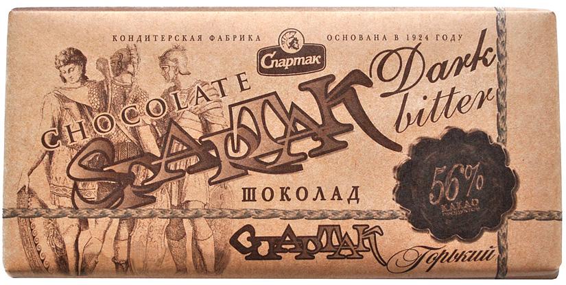 Спартак шоколад горький 56%, 90 г8411Приятный насыщенный вкус и чудесный аромат, элегантная строгость вкуса и 56% отборных какао-продуктов.