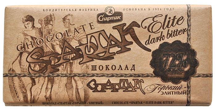 Спартак шоколад горький, 90 г8380Горький элитный шоколад - истинный аристократ в огромном шоколадном семействе. Обострённо выраженный вкус какао, горькая нота превалирует над сладкой. Этот шоколад содержит 72% какао-продуктов и 100% незабываемого вкуса.
