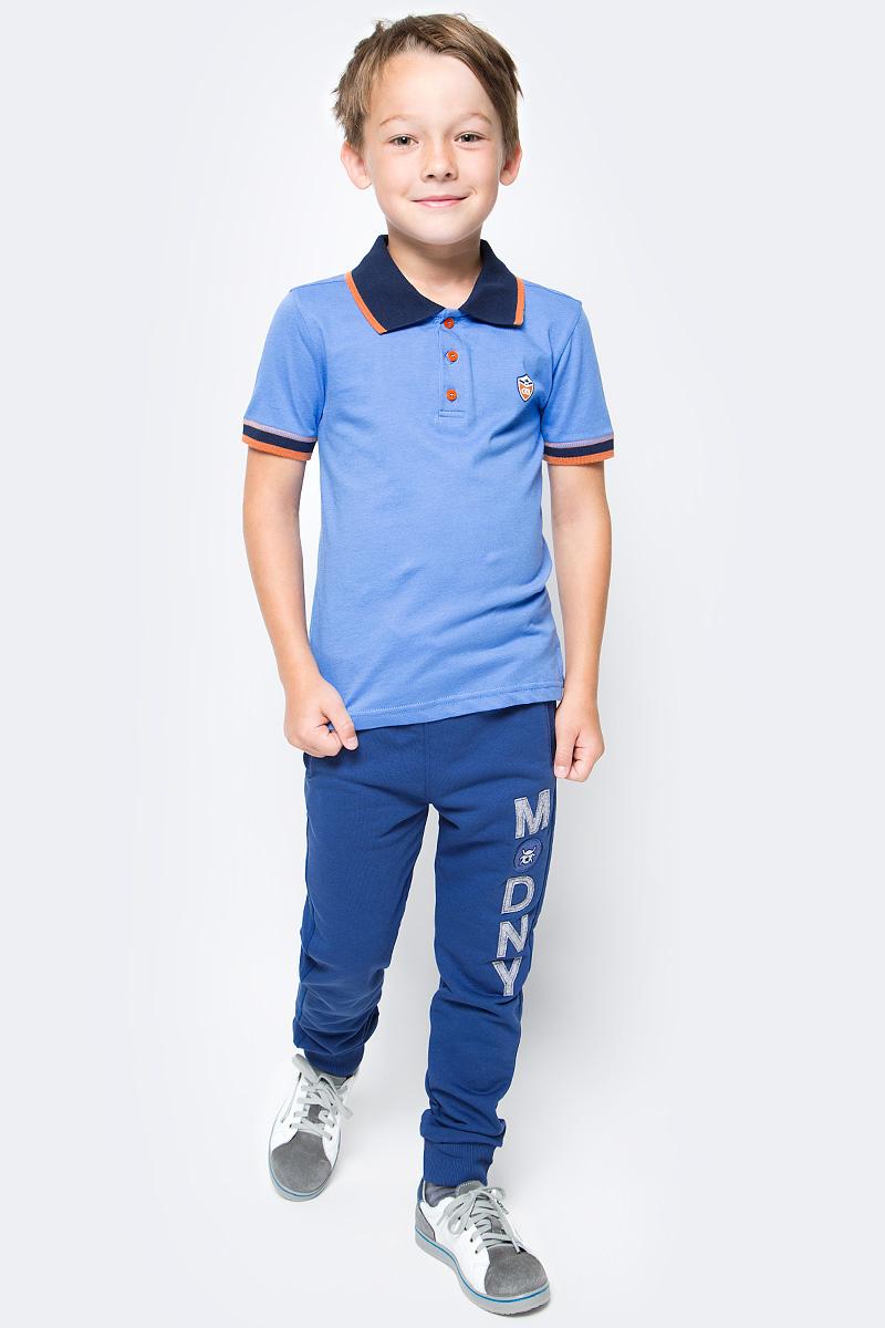 Поло для мальчика Cherubino, цвет: голубой. CSJ 61594 (149). Размер 134CSJ 61594 (149)Поло для мальчика Cherubino изготовлено из натурального хлопка. Однотонная модель оформлена контрастным отложным воротничком и застежкой с пуговицами.