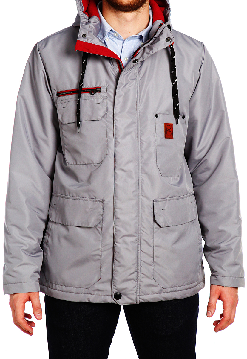 Куртка мужская Xaska, цвет: светло-серый. 15508. Размер 4815508_SiltstoneКуртка мужская Xaska выполнена из полиэстера. Модель с длинными рукавами и капюшоном застегивается на кнопки и застежку-молнию.