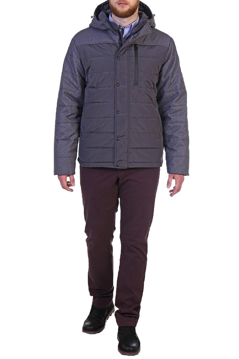 Куртка мужская Xaska, цвет: сеpый. 17716. Размер 5617716_GreyКуртка средней длины на утеплителе Termofinn Plus. Модель с несъемным капюшоном застегивается на застежку-молнию и дополнительно ветрозащитным клапаном на кнопки. Капюшон регулируется с помощью шнурка со стопперами. На груди расположен накладной карман на застежке-молнии.