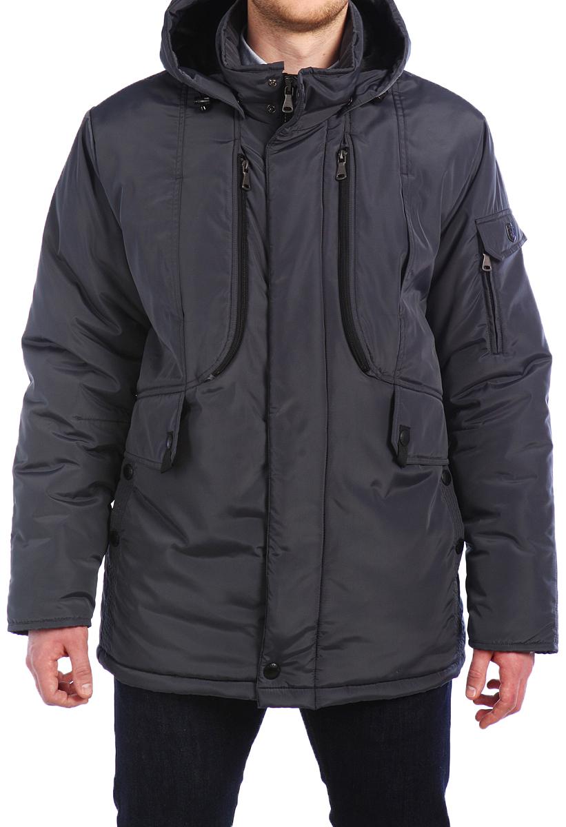 Куртка мужская Xaska, цвет: серый. 15420. Размер 5215420_Dark steelКуртка удлиненная на утеплителе Termofinn Plus. Капюшон отстегивается (на молнии). Подкладка капюшона и стан до талии из трикотажного меха. Регулировка по талии.