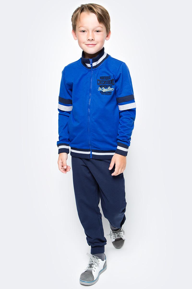 Спортивный костюм для мальчика Cherubino, цвет: синий. CAJ 9657. Размер 152CAJ 9657Костюм спортивный Cherubino для мальчика состоит из кофты и брюк, изготовленных из хлопка с добавлением полиэстера. Кофта с воротником-стойкой и длинными рукавами застегивается на застежку-молнию. Брюки дополнены широкой резинкой на талии. Низ брючин дополнен эластичными манжетами.