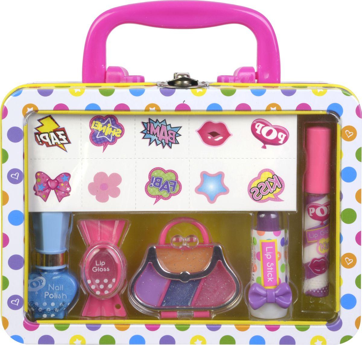 Markwins Игровой набор детской декоративной косметики POP 37043513704351Состав набора: лак для ногтей на водной основе 1 шт., блеск для губ 1 шт., палитра блесков для губ из 4 оттенков, губная помада в футляре 1 шт., блеск для губ с аппликатором 1 шт., переводные рисунки для тела 1 лист, жестяной чемоданчик 1 шт.