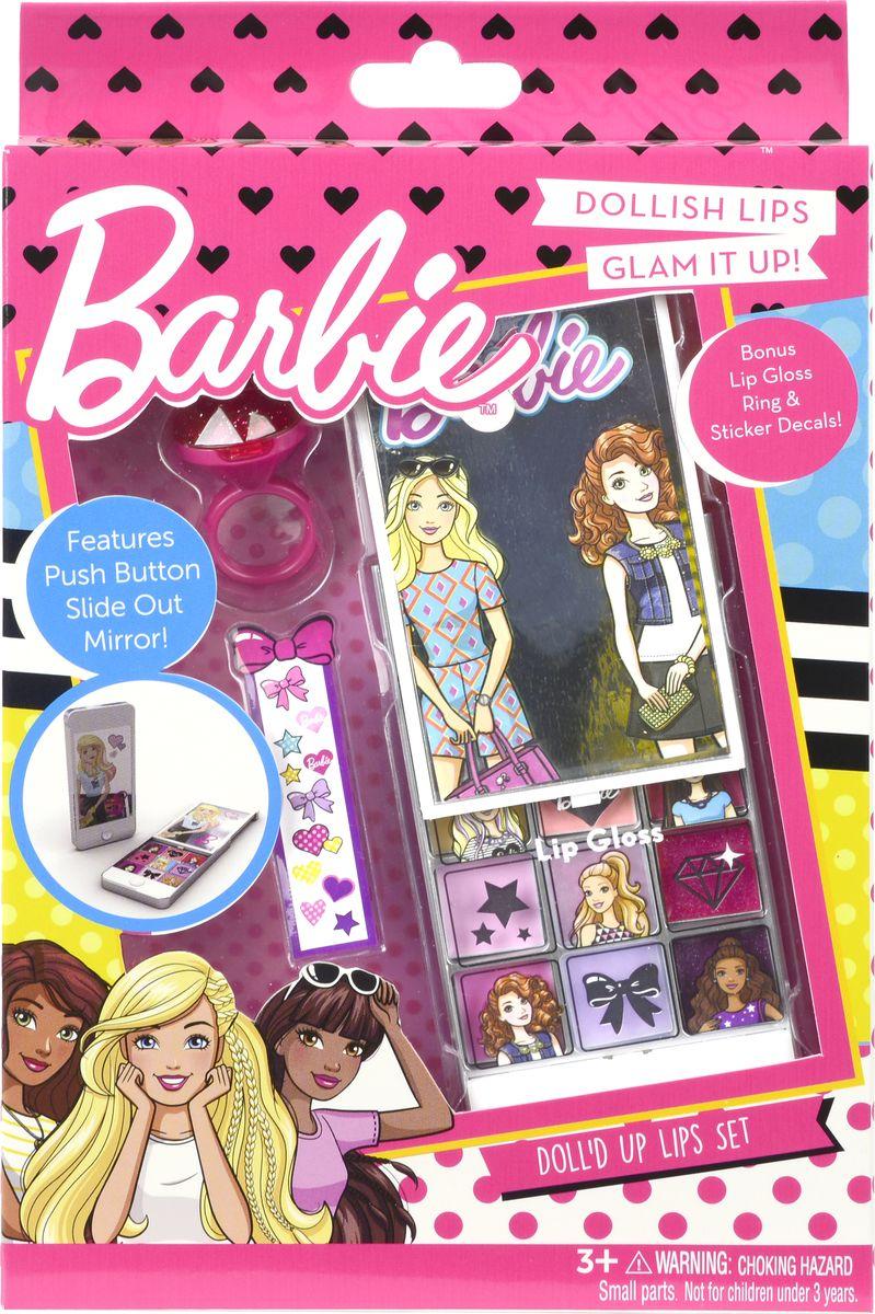 Markwins Игровой набор детской декоративной косметики Barbie 97084519708451Состав набора: палитра блесков для губ из 9 оттенков, блеск для губ в колечке 1 шт., кисть 1 шт., зеркало 1 шт., наклейки 1 лист.