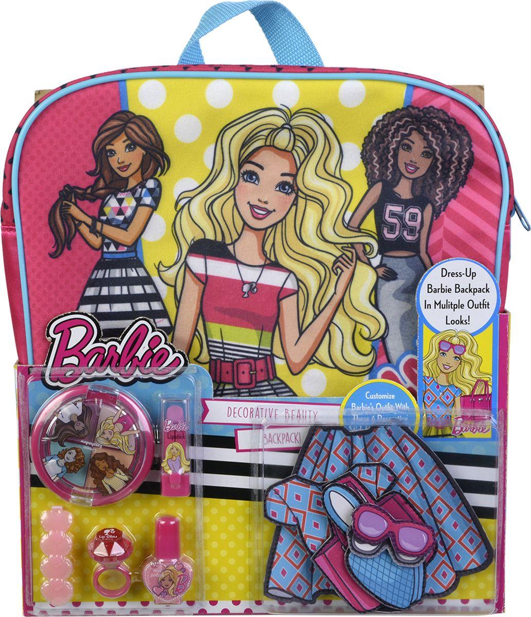 Markwins Игровой набор детской декоративной косметики Barbie 97093519709351Состав набора: рюкзак 1 шт., палитра теней для век из 4 оттенков, губная помада в футляре 1 шт., лак для ногтей на водной основе 1 шт., блеск для губ в колечке 1 шт., заколочка для волос 1 шт., липучки 6 шт.