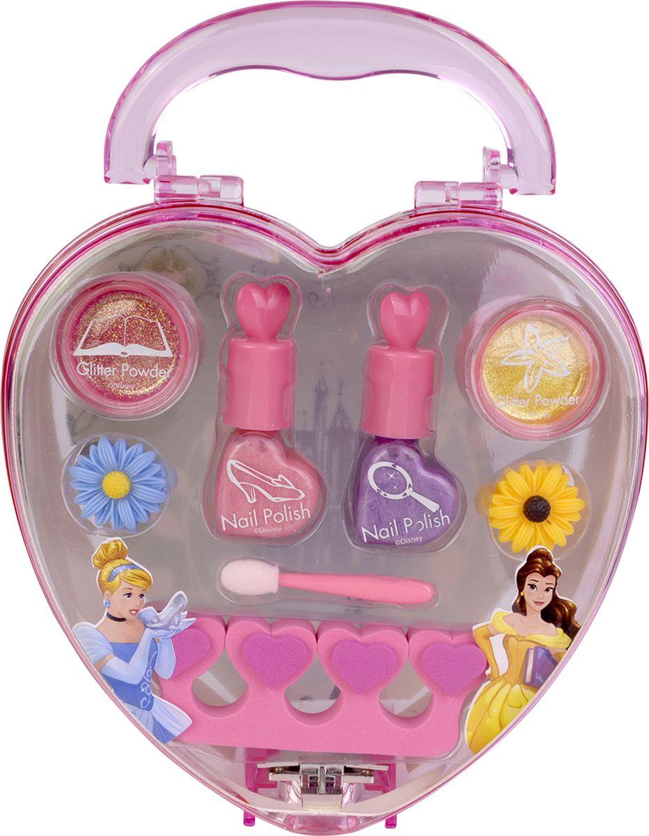 Markwins Игровой набор детской декоративной косметики Princess 97163519716351Состав набора: лаки для ногтей на водной основе 2 шт., блёстки в баночке 2 шт., резинки для волос 2 шт., аппликатор 1 шт., разделитель для пальцев 1 шт., наклейки 2 шт.