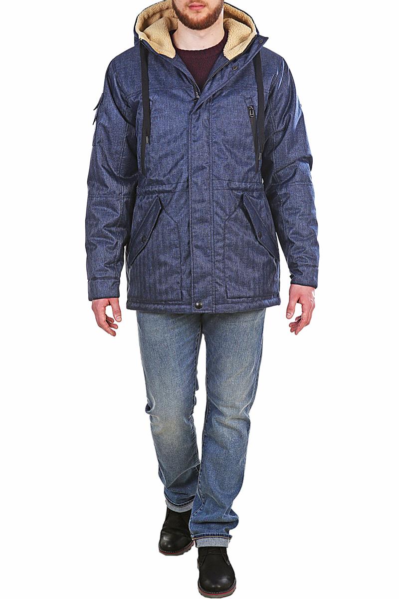 Куртка мужская Xaska, цвет: синий. 17715. Размер 5017715_Navy TweedКуртка средней длины на утеплителе Termofinn Plus. Капюшон не отстегивается. Подкладка капюшона из трикотажного меха (шерпа). Регулировка по талии и по низу куртки.