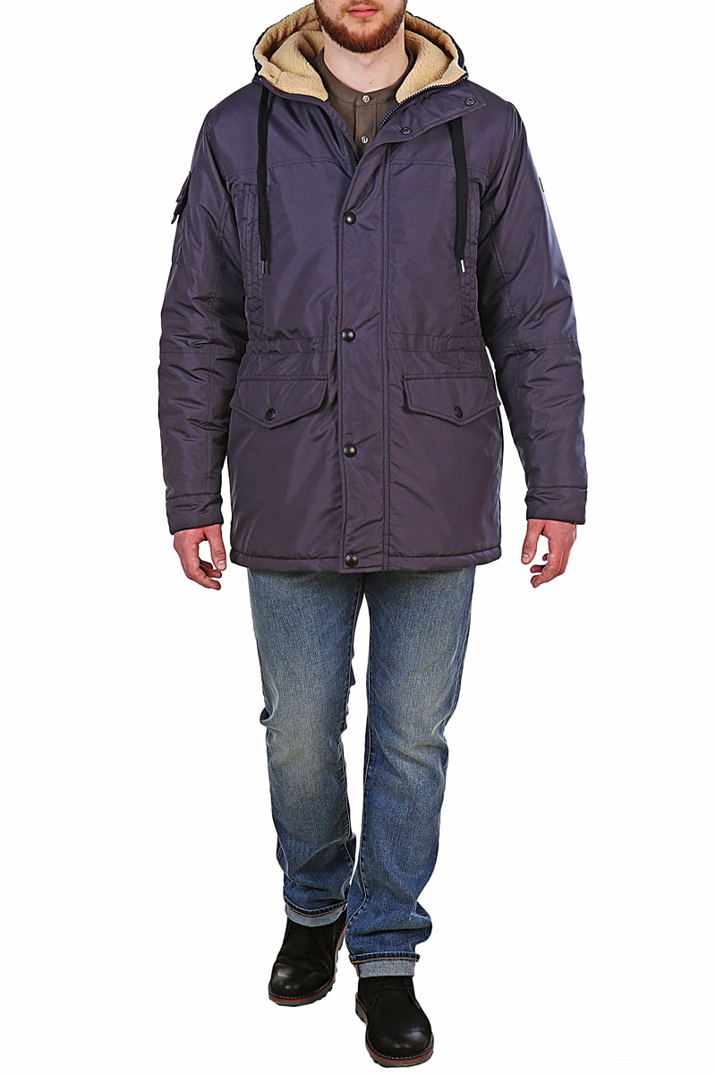 Куртка мужская Xaska, цвет: темно-серый. 17718. Размер 5217718_GraphiteКуртка средней длины на утеплителе Termofinn Plus. Модель с несъемным капюшоном застегивается на застежку-молнию и дополнительно на кнопки. Подкладка капюшона из трикотажного меха (шерпа). Регулировка по талии и по низу куртки. Спереди расположены карманы.
