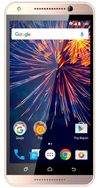 Vertex Impress Event 3G, GoldVVNT-GLDСмартфон Vertex Impress Event – доступный и стильный 3G смартфон со всеми необходимыми функциями.Корпус смартфона Impress Event выполнен из высококачественного пластика с имитацией под металл. Имеет компактный размер и плавные линии, что дополняет гармоничный и привлекательный внешний вид.Яркий IPS дисплей дополняет стильный образ смартфона и позволяет максимально комфортно использовать возможности модели: просмотр сериалов и фильмов, фотографий, видео, чтение книг, общение с друзьями. Смартфон оснащен 4-х ядерным процессором, благодаря чему Vertex Impress Event отлично подходит для решения различных повседневных задач. Мощность процессора обеспечивает бесперебойную и качественную работу операционной системы и установленных приложений. Смартфон имеет 1 ГБ оперативной памяти и 8 ГБ встроенной, что позволяет использовать стандартные функции максимально эффективно: Интернет, игры, приложения, фото и видео съемка, электронные книги и прочие дополнительные smart-функции. Для повышения работоспособности смартфона и увеличения объема памяти можно использовать Micro SD карт емкостью до 32 ГБ.Смартфон получил новейшую операционную систему Android 7.0 Nougat. Новая ОС стала еще более функциональной и удобной для пользователя. В Android 7.0 появляется ряд дополнительных возможностей и режимов работы, в большей степени ориентированных на пользователя. Наличие двух камер 8 МП и 2 МП дает возможность делать фото, снимать видео, совершать видеозвонки, общаться в Skype. Дополнительные преимущества основной камеры: светодиодная вспышка.Для того, чтобы вы смогли всегда оставаться на связи модель Vertex Impress Event поддерживает работу двух SIM-карт, активных в режиме ожидания. Благодаря этому можно использовать возможности сразу двух операторов связи так, как удобно вам.Для активного общения в смартфоне предусмотрены: поддержка 3G, голосовой набор, отправка MMS – сообщений, активные беспроводные соединения (Bluetooth 4.0, Wi Fi). Обновление ПО пр