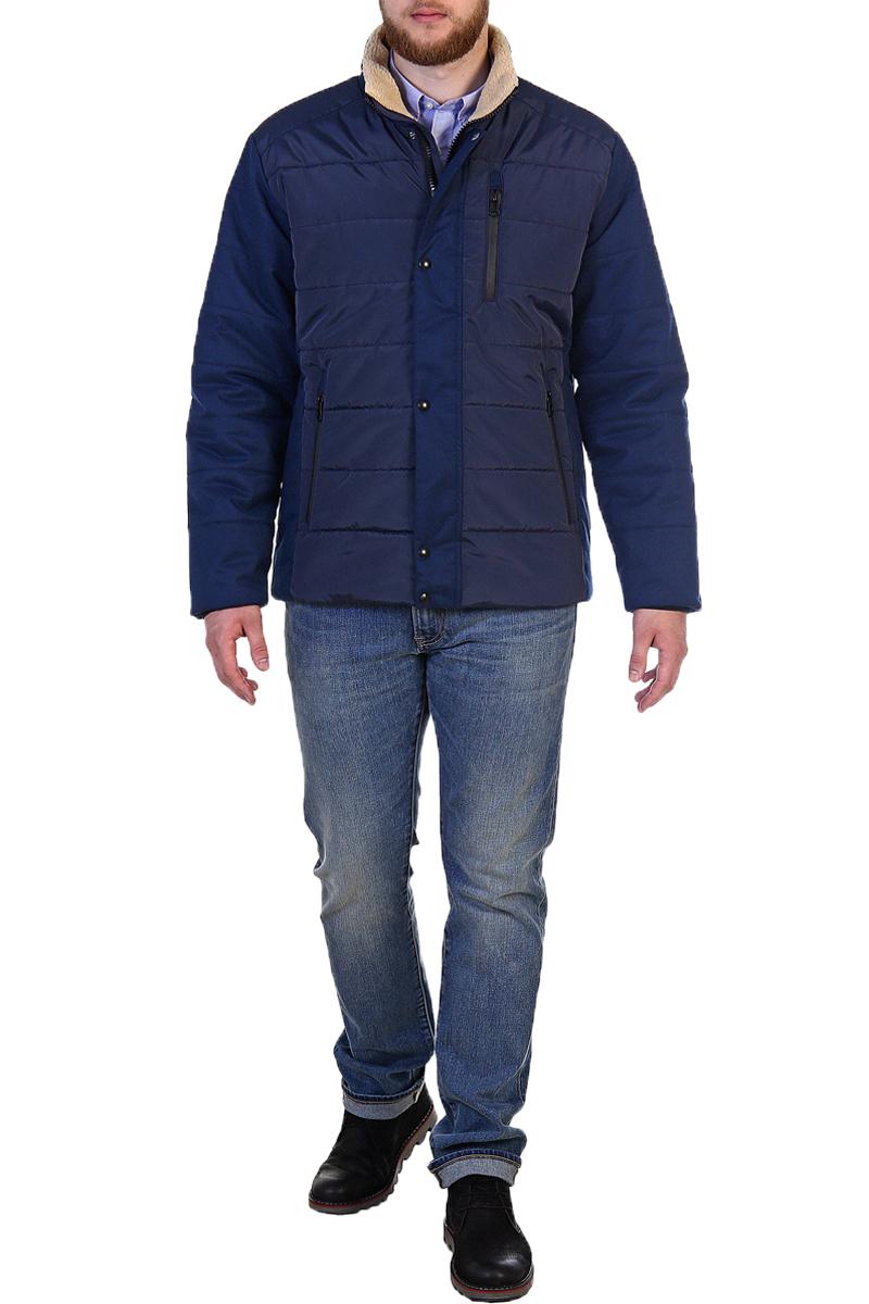 Куртка мужская Xaska, цвет: темно-синий. 17714. Размер 5217714_NavyКуртка короткая на утеплителе Termofinn Plus. Без капюшона. Отделка стойки из трикотажного меха (шерпа).