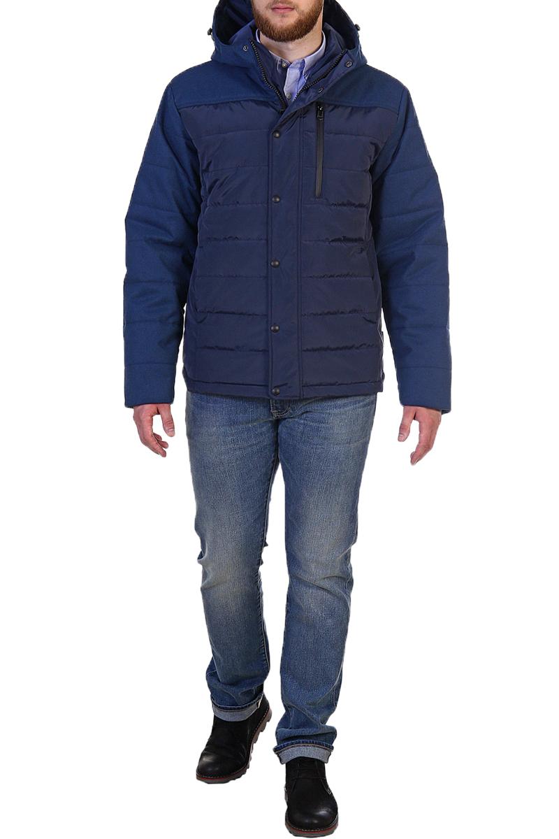 Куртка мужская Xaska, цвет: темно-синий. 17716. Размер 4817716_NavyКуртка средней длины на утеплителе Termofinn Plus. Капюшон не отстегивается.