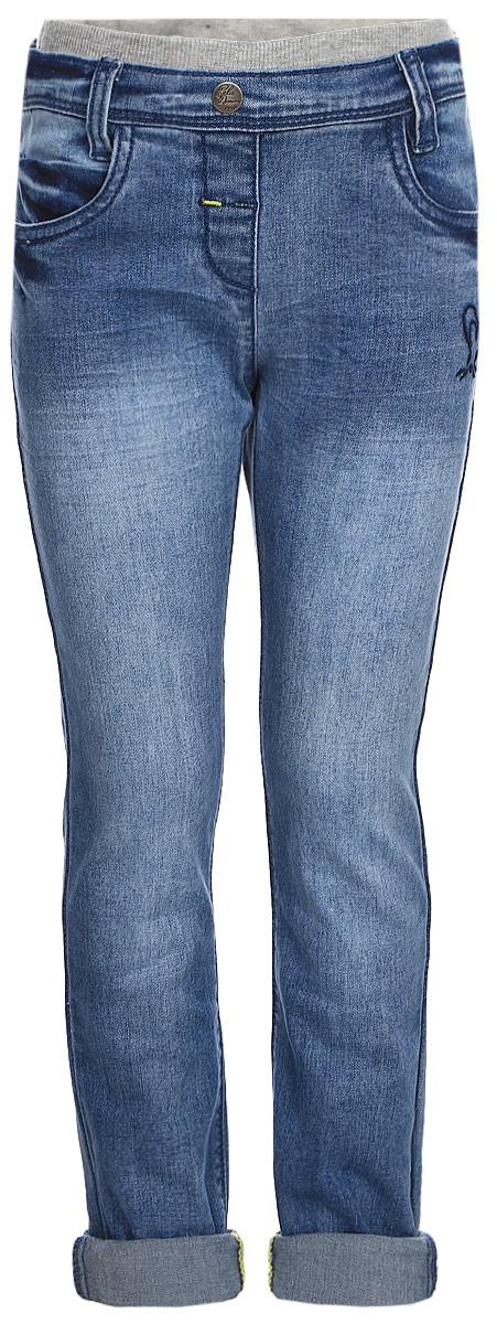 Джинсы для девочки Sela, цвет: синий. PJ-535/327-7351. Размер 104PJ-535/327-7351Джинсы для девочки от Sela выполнены из эластичного хлопка. Модель зауженного кроя дополнена на талии эластичной трикотажной резинкой и шлевками для ремня, имитацией застежки на пуговицу и ширинку. По бокам джинсов имеются втачные карманы, сзади - накладные.