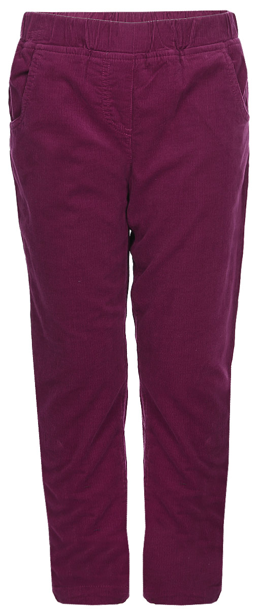 Брюки для девочки Sela, цвет: красная слива. P-515/394-7422. Размер 116P-515/394-7422Вельветовые брюки для девочки от Sela на подкладе выполнены из натурального хлопка. Модель прямого кроя дополнена эластичной резинкой и имитацией ширинки. По бокам брюк имеются втачные карманы, сзади - накладные.