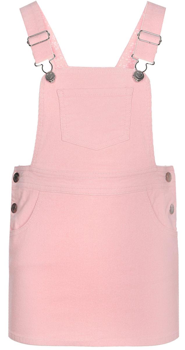 Сарафан для девочки Sela, цвет: светло-розовый. SKc-518/305-7351. Размер 92SKc-518/305-7351Стильный сарафан для девочки от Sela выполнен из эластичного хлопка. Модель с грудкой и на широких регулируемых лямках по бокам застегивается на пуговицы. Имеются боковые втачные карманы, задние накладные карманы и один нагрудный кармашек.